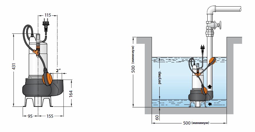 Габаритный чертеж и схема установки Pedrollo BCm 10/50
