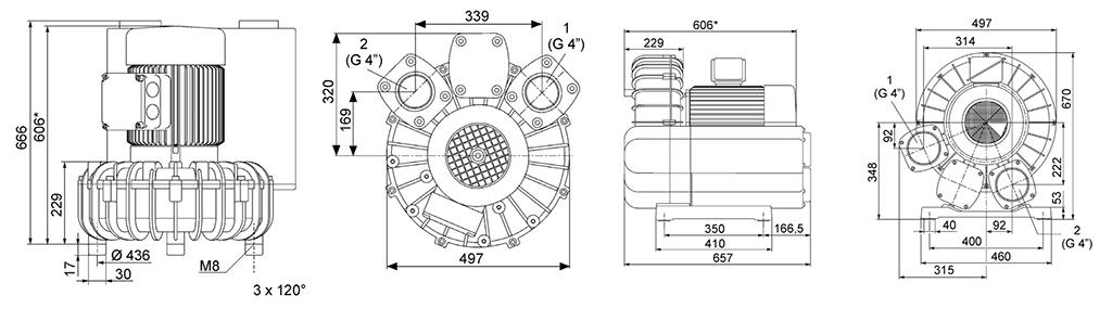 Габаритный чертеж воздуходувки SV 5.690/2-500