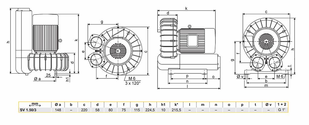 Габаритный чертеж воздуходувки SV 1.50/3