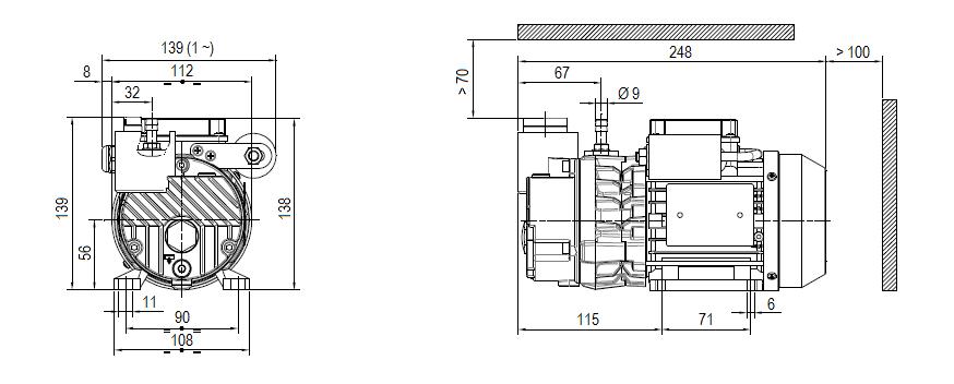 Габаритный чертеж насоса DVP LC.2