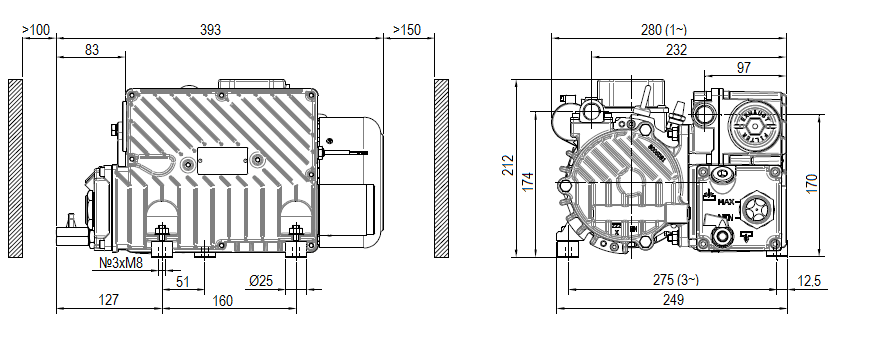 Габаритный чертеж насоса DVP LC.25 WR