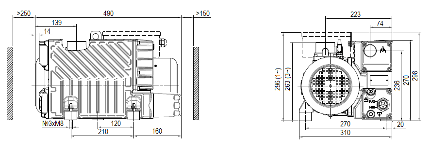 Габаритный чертеж насоса DVP LC.60