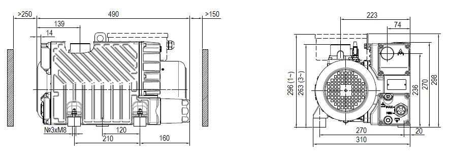Габаритный чертеж насоса DVP LC.60_220