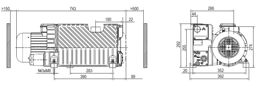 Габаритный чертеж насоса DVP LC.151