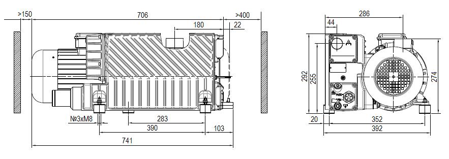 Габаритный чертеж насоса DVP LC.106 WR