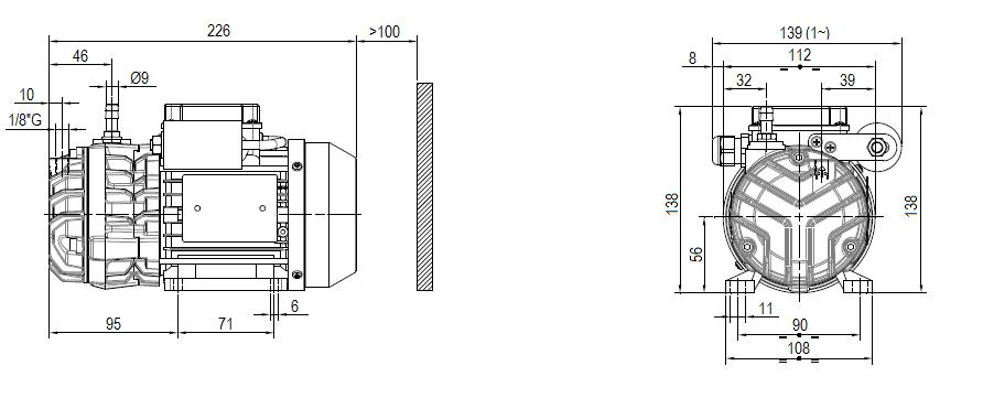 Габаритный чертеж насоса DVP SC.5_220