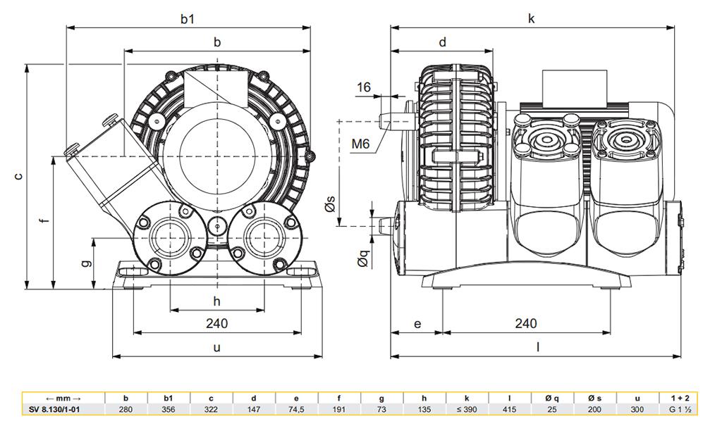 Габаритный чертеж воздуходувки SV 8.130/1-01