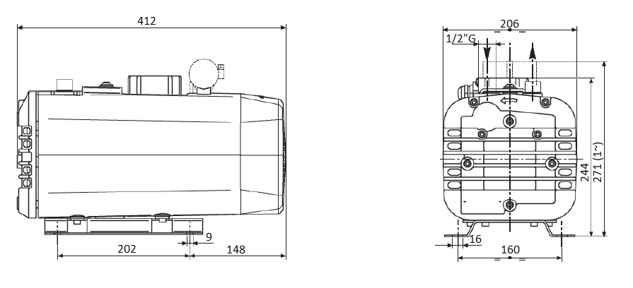 Габаритный чертеж насоса DVP SB.16_220