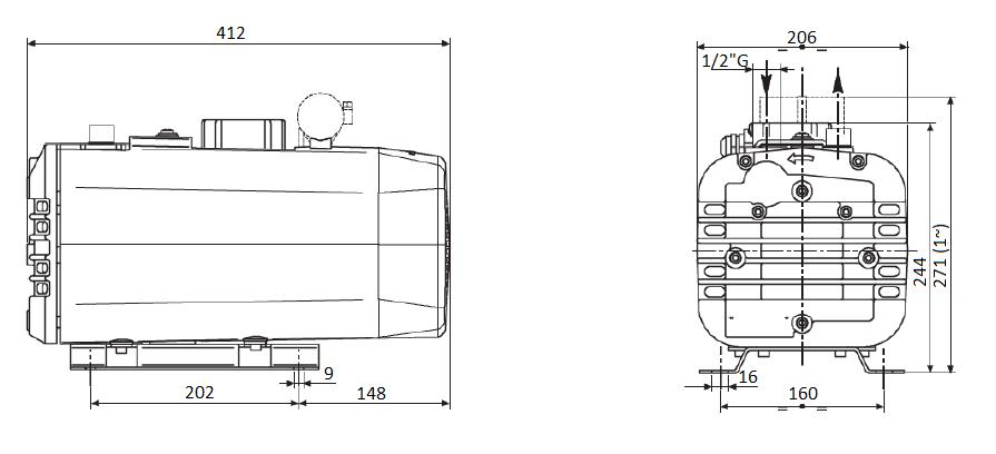 Габаритный чертеж насоса DVP SB.16