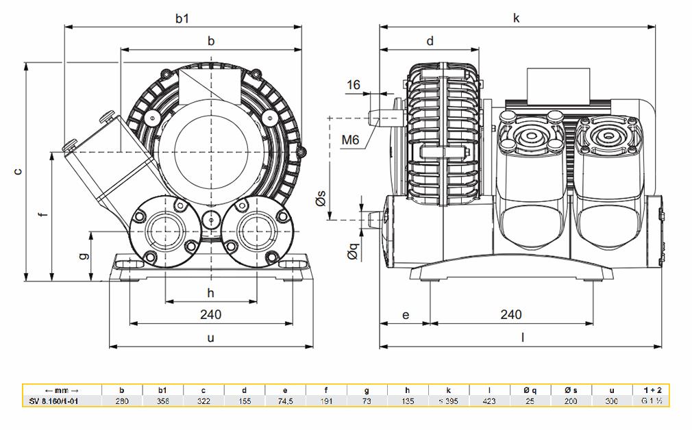 Габаритный чертеж воздуходувки SV 8.160/1-01