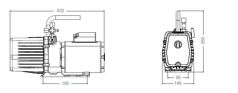 Габаритный чертеж насоса AirVac AHV-12