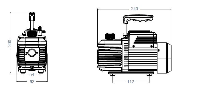 Габаритный чертеж насоса AirVac A-i120