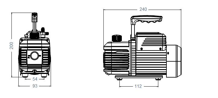 Габаритный чертеж насоса AirVac A-i210