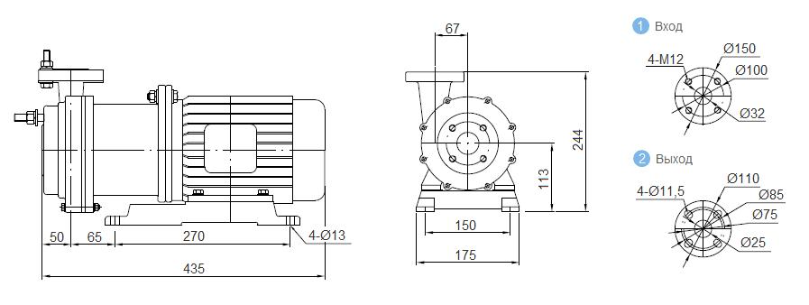 Габаритный чертеж насоса CQB 32-25-125-FEP-011_Fe