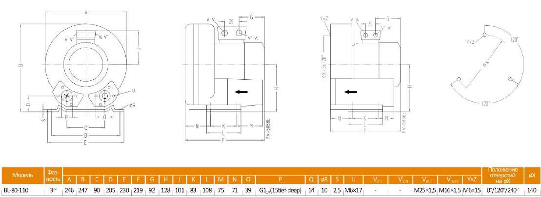 Габаритный чертеж воздуходувки BL-80-110_220в