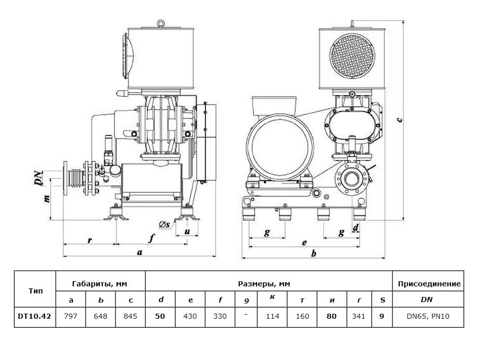 Габаритный чертеж воздуходувки DT 10/42 (600)