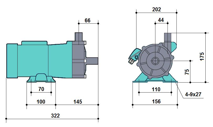Габаритный чертеж насоса Kaix MDP-100RM-220