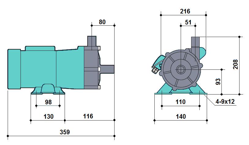 Габаритный чертеж насоса Kaix MDP-120RM-220