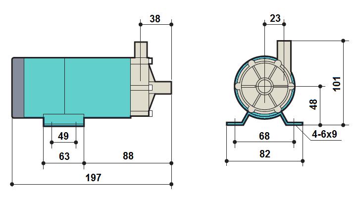 Габаритный чертеж насоса Kaix MDP-15R-220