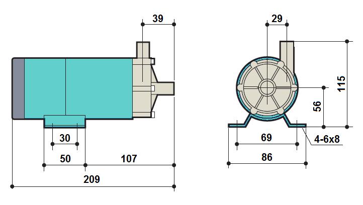Габаритный чертеж насоса Kaix MDP-20R-220