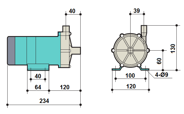 Габаритный чертеж насоса Kaix MDP-30RZM-220