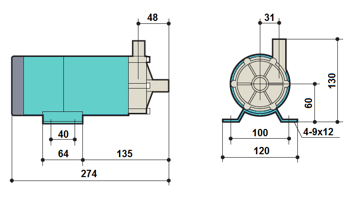 Габаритный чертеж насоса Kaix MDP-40RM-220