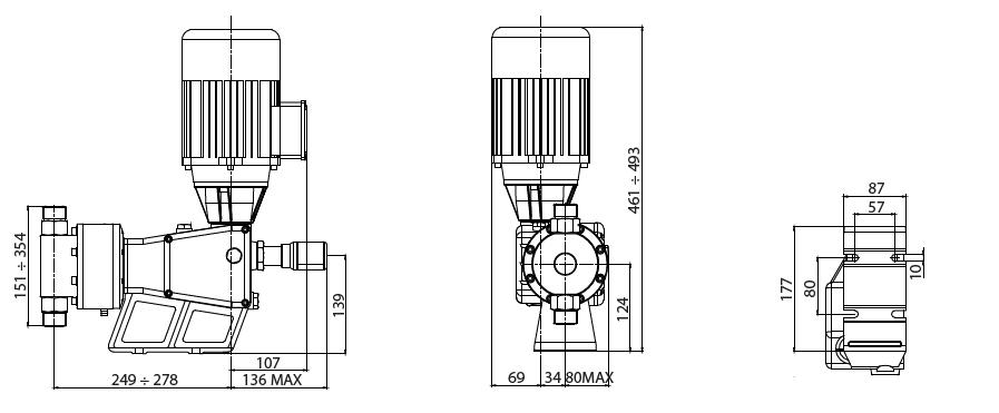 Габаритный чертеж насоса Etatron P BP0014AA00000