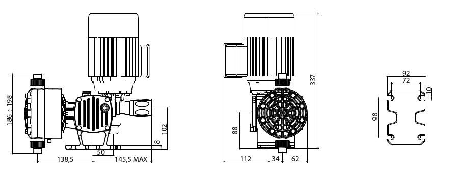 Габаритный чертеж насоса Etatron ST-D AD0016AA00100