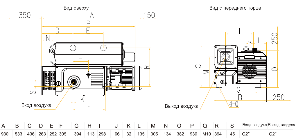 Габаритный чертеж насоса VSV-160