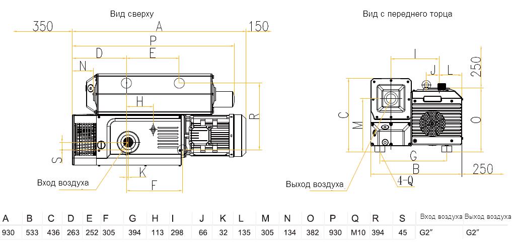 Габаритный чертеж насоса VSV-200