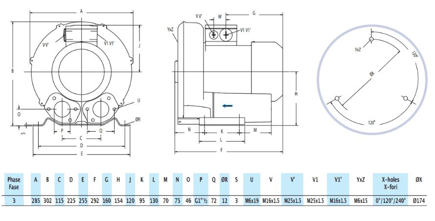 Габаритный чертеж воздуходувки GreenTech 2RB 410-013