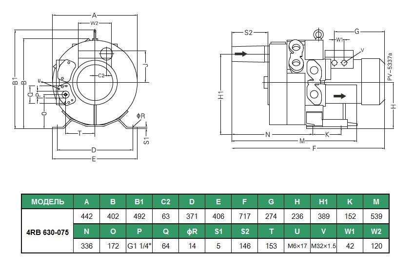 Габаритный чертеж воздуходувки GreenTech 4RB 630-075
