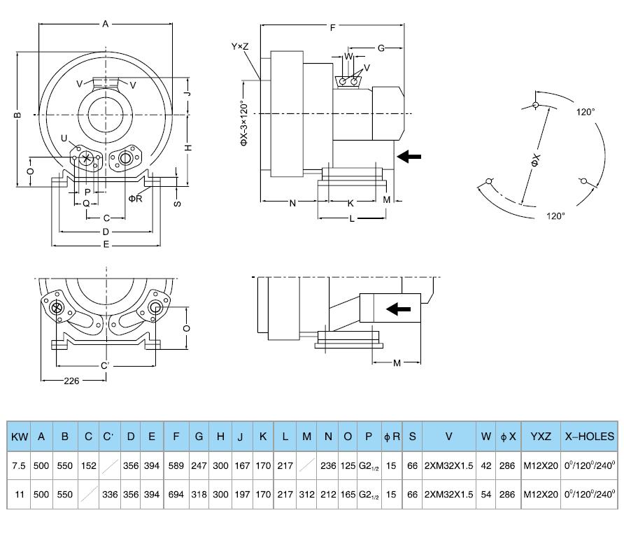 Габаритный чертеж воздуходувки GreenTech 2RB 840-075
