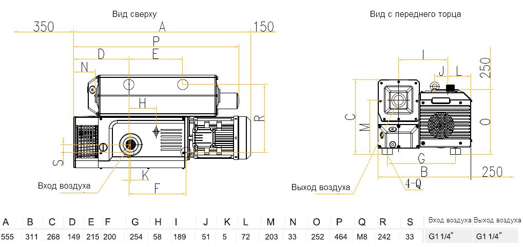 Габаритный чертеж насоса VSV-065