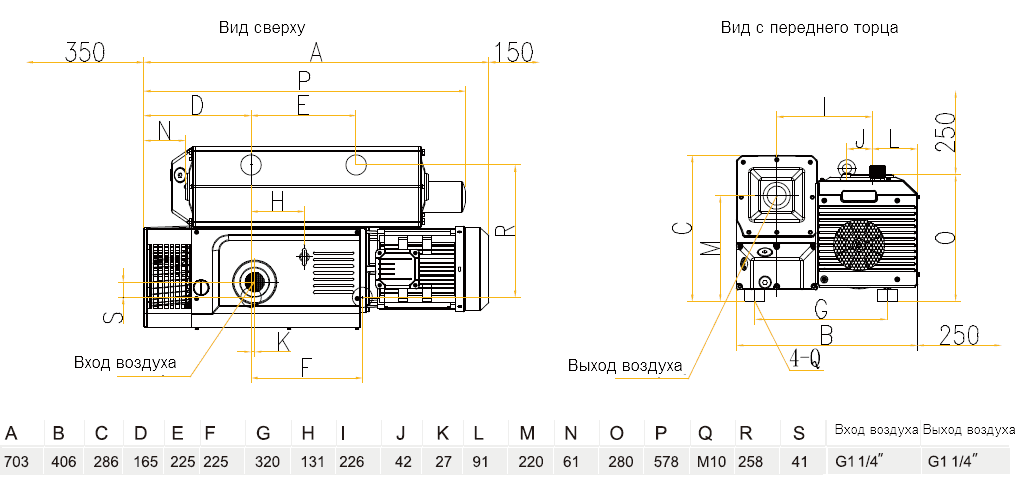 Габаритный чертеж насоса VSV-100
