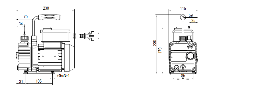 Габаритный чертеж насоса DVP RD.2D