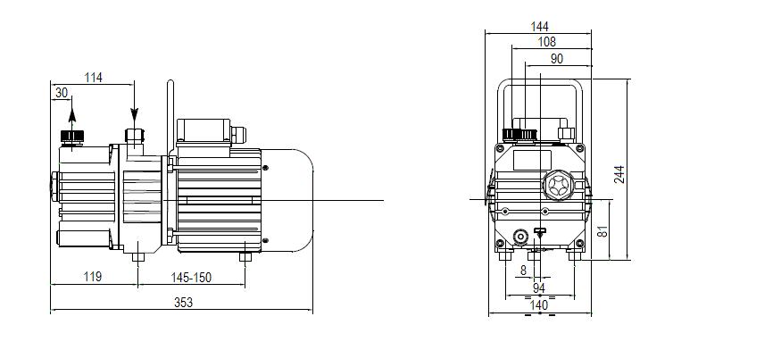 Габаритный чертеж насоса DVP RC.4D