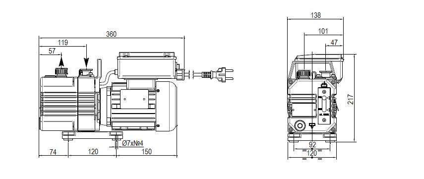 Габаритный чертеж насоса DVP DB.2D