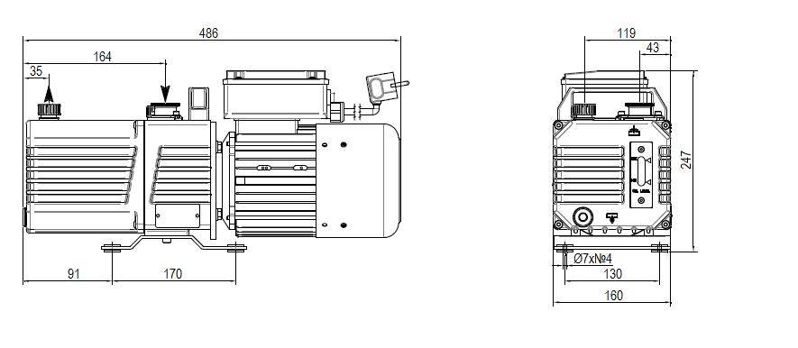 Габаритный чертеж насоса DVP DC.4D