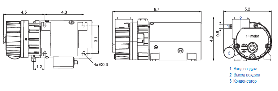 Габаритный чертеж насоса Becker O 5.4_220