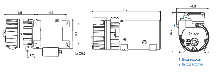 Габаритный чертеж насоса Becker O 5.4
