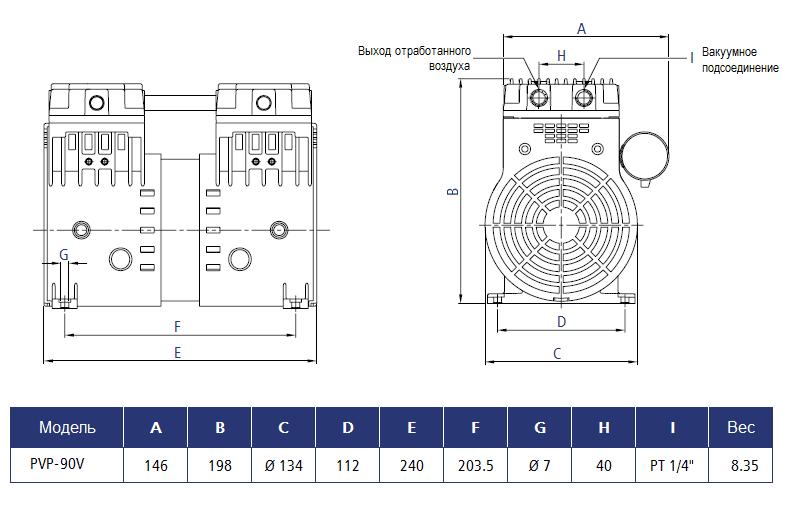 Габаритный чертеж насоса Stairs Vacuum PVP-90V