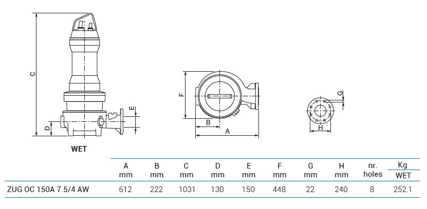 Габаритный чертеж насоса Zenit ZUG OC 150A 7.5/4 AW