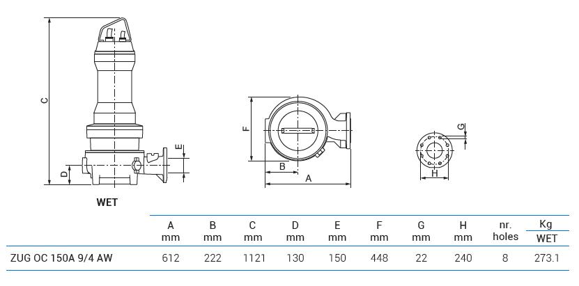 Габаритный чертеж насоса Zenit ZUG OC 150A 9/4 AW