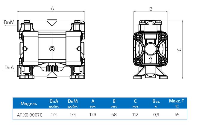 Габаритный чертеж насоса Seko Duotek AF X0 0007C