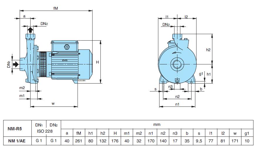 Габаритный чертеж насоса Calpeda NM 1/AE-R5