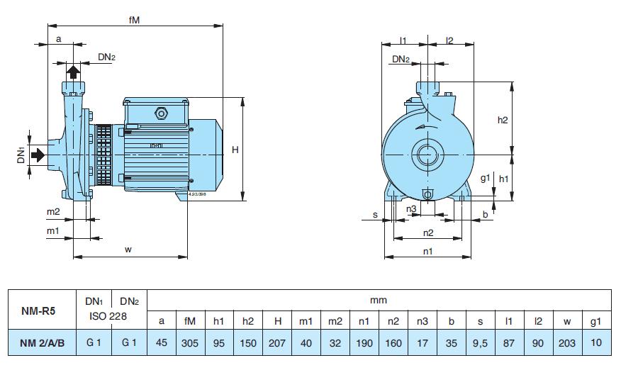 Габаритный чертеж насоса Calpeda NM 2/A/B-R5