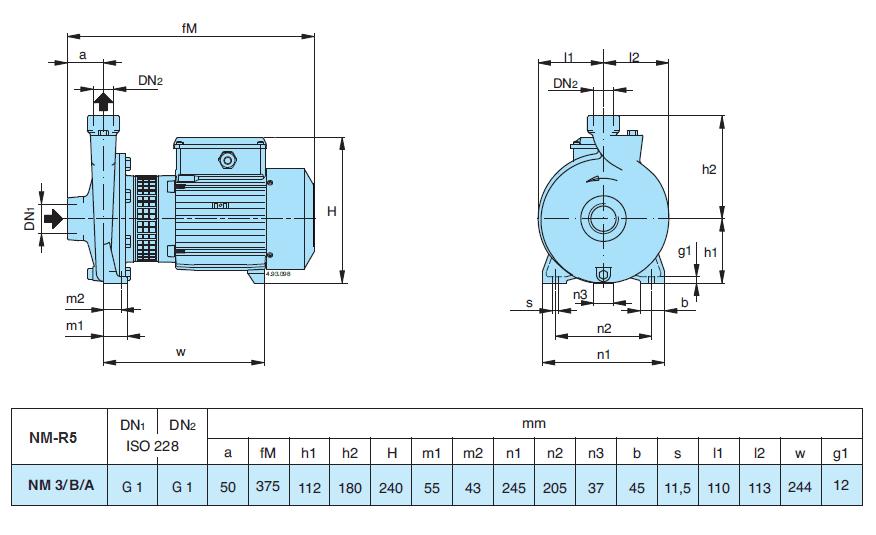 Габаритный чертеж насоса Calpeda NM 3/B/A-R5