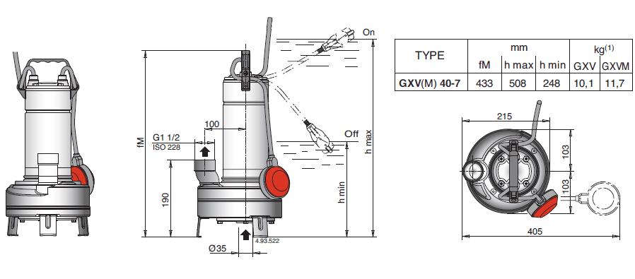 Габаритный чертеж насоса Calpeda GXV 40-7