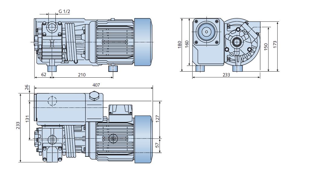 Габаритный чертеж насоса Busch R5 RB 0021 C_220